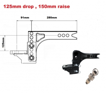 3502KG Adjustable towbar Ball Mount  ** FREE DELIVERY **